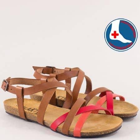 Дамски сандали в кафяво, червено и оранж- PLAKTON 575184kchv