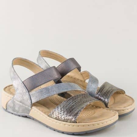 Шити дамски сандали на платформа в сребристо и сиво 5773zsv