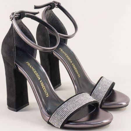Дамски сандали със затворена пета на висок ток в черно 577vch