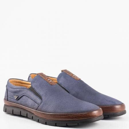 Сини ежедневни мъжки обувки от естесвен набук и кожа и  комфортно ходило 579ns