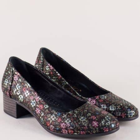 Анатомични дамски обувки на нисък ток с пъстър принт 5800chps