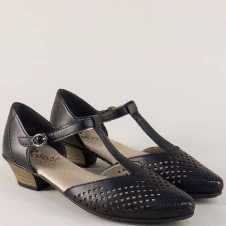 Черни, шити дамски сандали със затворени пръсти и пета  58055ch