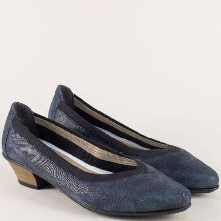 Сини дамски обувки на нисък ток от естествена кожа 58061s