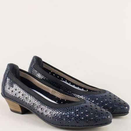 Сини дамски обувки от естествена кожа с перфорация 58065s