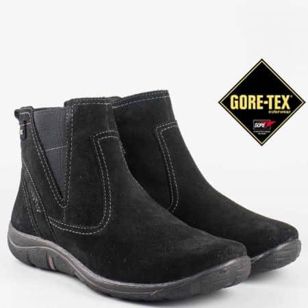 Дамски ежедневни боти произведени от висококачествен естествен велур с вградена Gore-Tex мембрана в черен цвят 58300vch