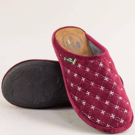 Дамски домашни чехли в цвят бордо- Spesita 585-40bd