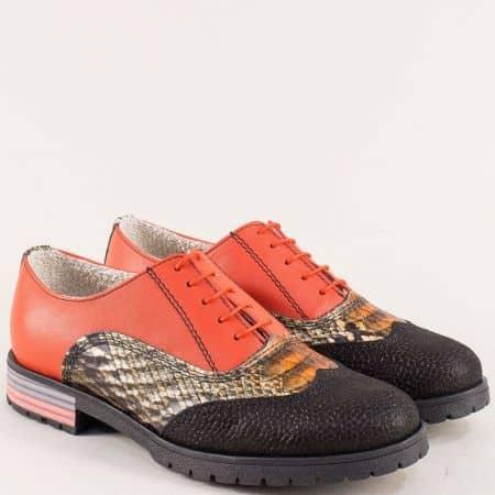 Кожени дамски обувки с връзки в бронз, червено и черно 586chps