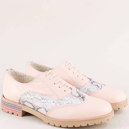 Ефектни дамски розови обувки от естествена кожа 586rzps