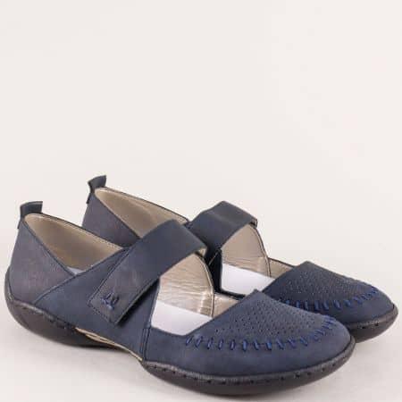 Анатомични дамски обувки с кожена стелка в син цвят  58876s