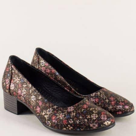 Пъстри дамски обувки от естествена кожа на нисък ток  5800kps