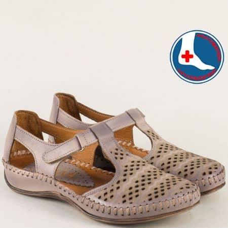 Ортопедични дамски обувки от естествена кожа в бежов цвят 590bjl