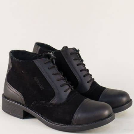 Български дамски боти на нисък ток в черен цвят 5915ch