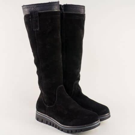 Дамски ботуши на равно ходило от естествен велур в черен цвят 591vch