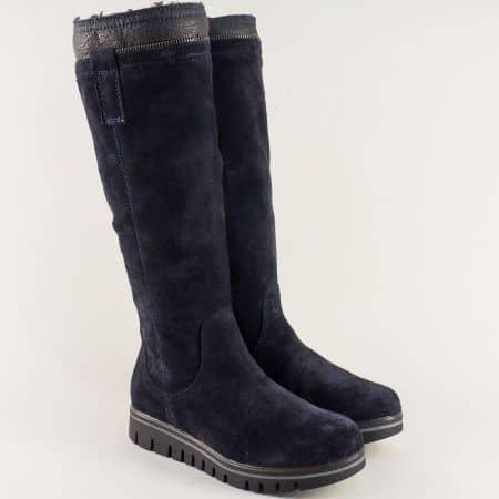 Дамски ботуши в тъмно син цвят на равно ходило- Aeros  591vs