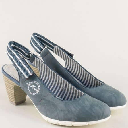 Дамски обувки с отворена пета в син цвят- S. Oliver  529501s