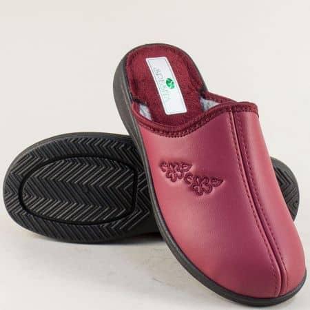 Домашни дамски пантофи- SPESITA в цвят бордо 593-40bd