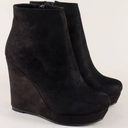 Дамски боти в черен цвят на платформа- ELIZA 594605vch