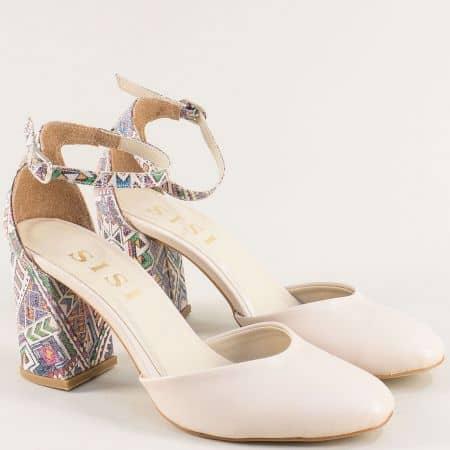 Бежови дамски обувки на висок ток с пъстър принт 596bjps