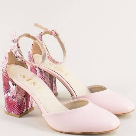 Розови дамски обувки на висок ток със змийски принт 596rz