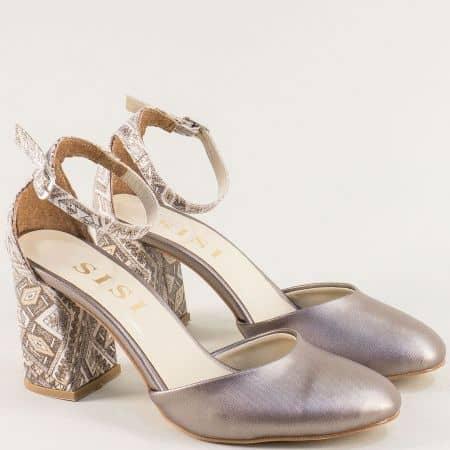 Златисти дамски обувки на висок ток с пъстър принт 596zlps