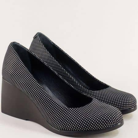 Черни дамски обувки на точки от естествена кожа 5997tch