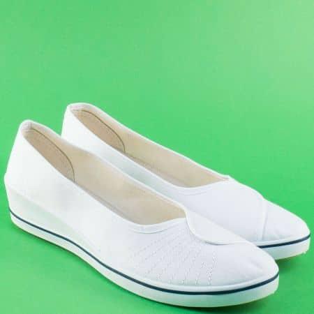 Ежедневни дамски обувки в бяло на клин ходило 6001b