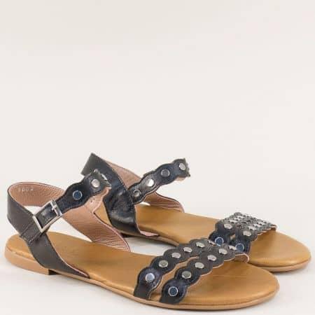 Кожени дамски сандали на равно ходило в черен цвят 6002ch