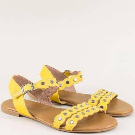 Жълти дамски сандали на равно ходило с кожена стелка 6002j