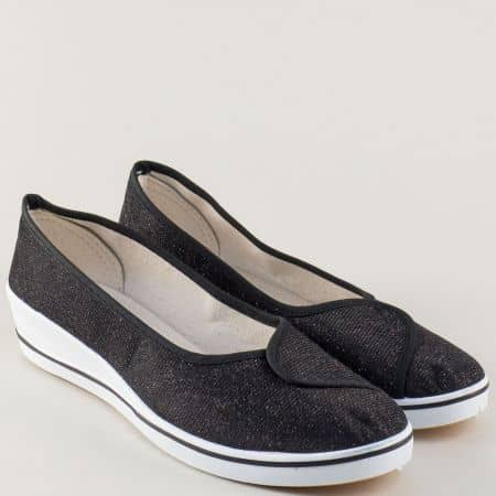 Черни дамски обувки на клин ходило 6005ch