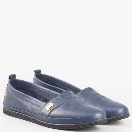 Ежедневни  дамски обувки от синя естествена кожа 600s