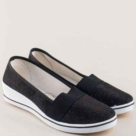 Текстилни дамски обувки в черно и бяло на клин ходило 6014ch