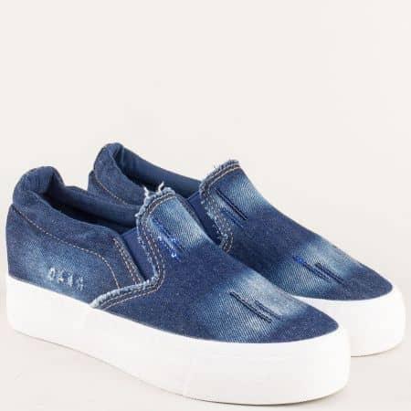 Дамски обувки на стабилна платформа в син цвят 6018ds
