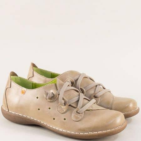 Бежови дамски обувки от естествена кожа и каучук- Jungla 6023bj