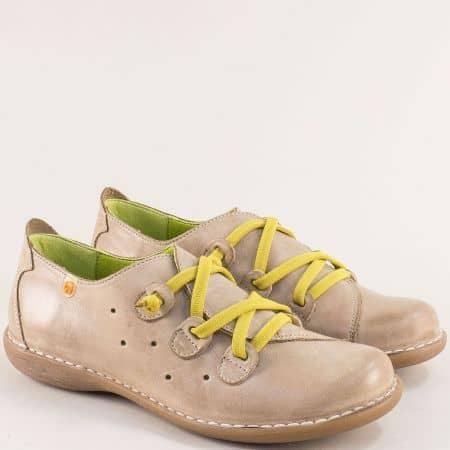 Бежови дамски обувки с жълти ластични връзки-  JUNGLA 6023bj1
