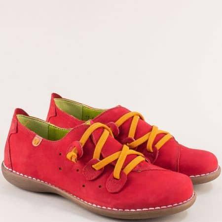Червени дамски обувки с жълти ластични връзки- JUNGLA 6023nchv