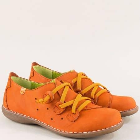 Анатомични дамски обувки от естествен набук в оранж 6023no