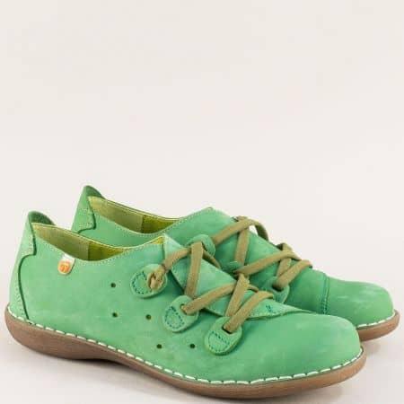 Зелени дамски обувки с ластични връзки и перфорация 6023nz