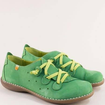 Зелени дамски обувки с ластични връзки- JUNGLA 6023nz1