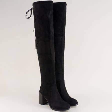 Дамски ботуши, тип чизми на висок ток в черен цвят 604925vch