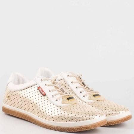 Равни дамски обувки с връзки от естествена кожа в златно с перфорация 604zl
