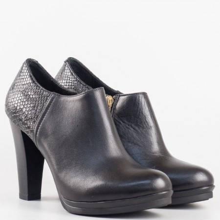 Дамски стилни обувки произведени от висококачествена естествена кожа с кожена стелка в черен цвят 6060chzch
