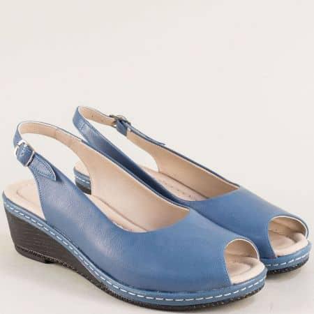 Кожени дамски обувки в син цвят на клин ходило 6061s