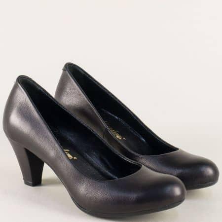 Дамски обувки от естествена кожа в черен цвят  6074ch