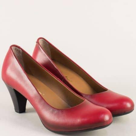 Червени дамски обувки на среден ток от естествена кожа  6074chv