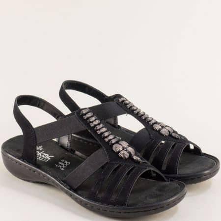 Дамски сандали в черен цвят на антистрес ходило- RIEKER 60806ch