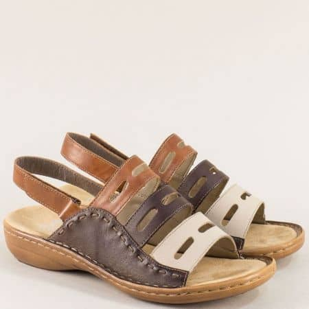 Кожени дамски сандали в кафявата гама- Rieker 60815ps