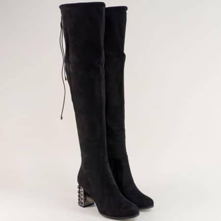 Черни дамски ботуши, тип чизми на футуристичен ток 6081vch