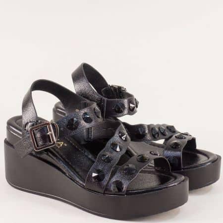 Черни дамски сандали на платформа Елиза 6089ch