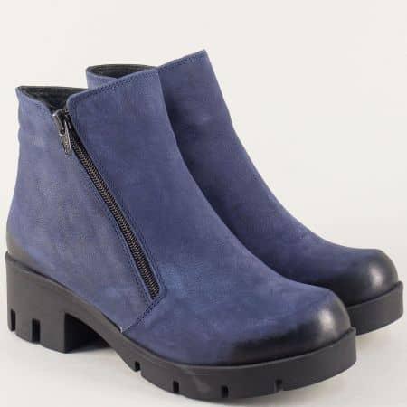 Сини дамски боти от естествен велур на среден ток 60ns