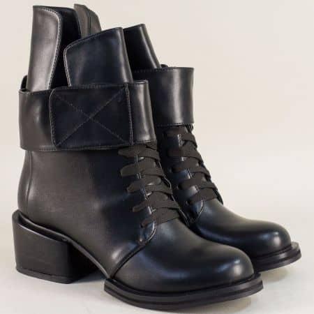 Модни дамски боти в черен цвят на среден ток 610593ch